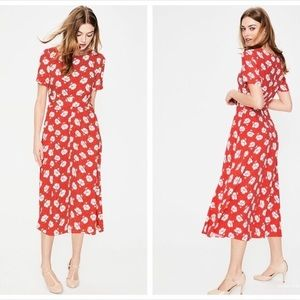 Boden Ruth midi dress size 6 flower and polka dot